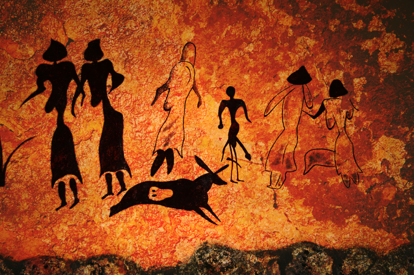 Cave painting of primitive commune on the wall