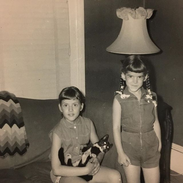 Sisters with their Beloved Family Pet in the late 1950s